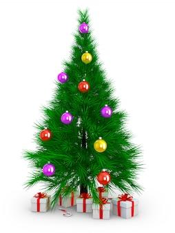 A árvore de natal e presente. 3d render