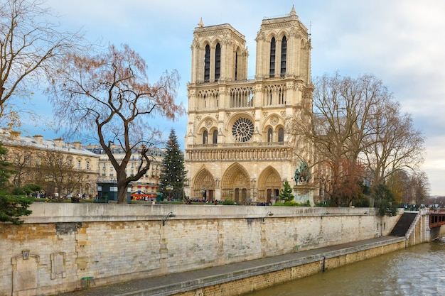 A árvore de natal em frente à fachada oeste principal da catedral de notre dame de paris, frança