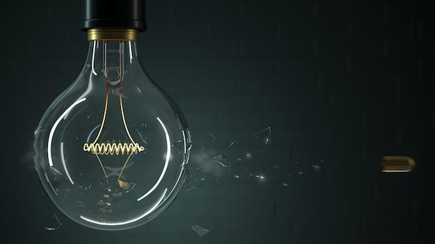 A bala perfura uma lâmpada
