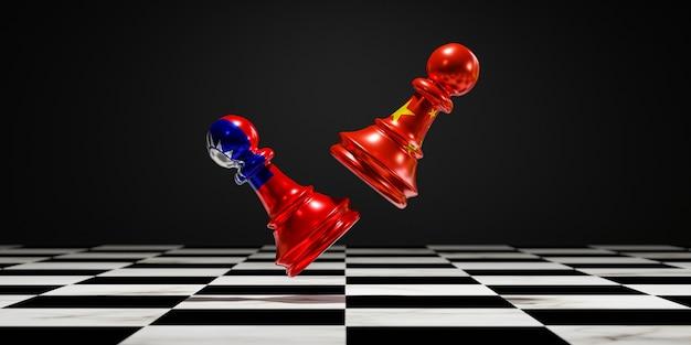 A bandeira da china e a bandeira de taiwan imprimem a tela no xadrez de peão para lutar no tabuleiro de xadrez, o conceito de crise de conflito da china e de taiwan.