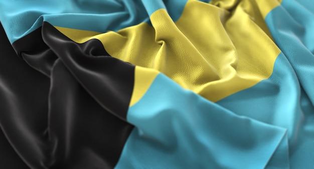 A bandeira das bahamas ruffled beautifully waving macro close-up shot