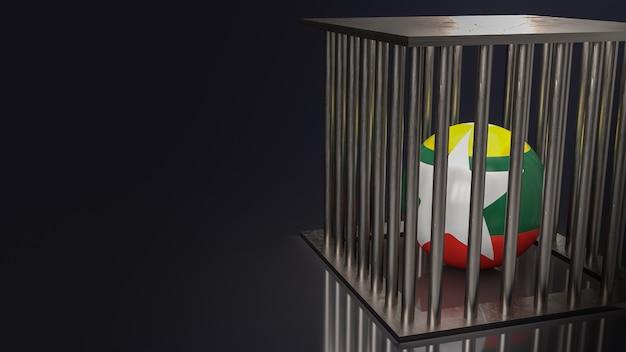 A bandeira de mianmar na bola em tom escuro renderização em 3d