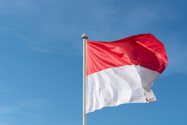 A bandeira de mônaco levanta no fundo alto do céu azul