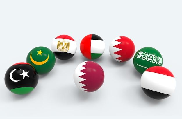 A bandeira de país de qatar cerca por algumas bolas da esfera das bandeiras do país de médio oriente.