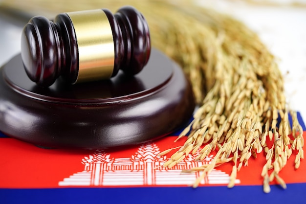 A bandeira do camboja e o juiz martelam com grãos de ouro da fazenda agrícola.