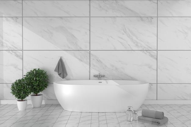 A banheira interior do banheiro no assoalho de azulejo no granito telha o fundo da parede. 3d rende