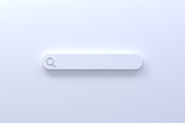 A barra de pesquisa 3d renderiza o design mínimo em um fundo vazio