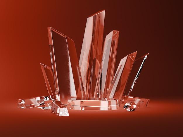 A base de cristal e o cristal grudam na cena vermelha. abstrato para acessórios ou joias. renderização 3d