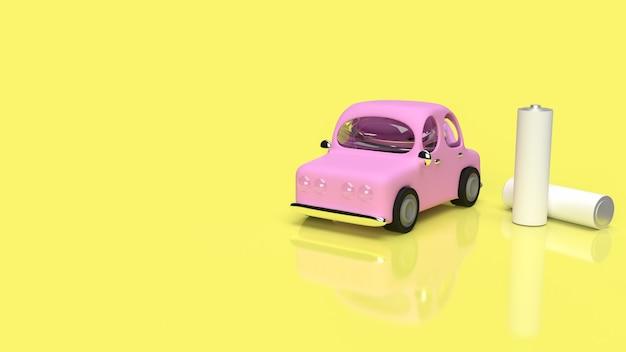 A bateria alcalina e o carro para o conceito de tecnologia de carro ev renderização em 3d