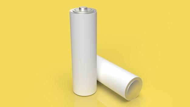 A bateria alcalina em fundo amarelo para renderização 3d de conceito de tecnologia