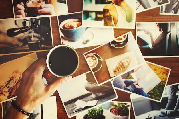 A bebida fria calma da bebida do café do café que descansa aprecia o conceito