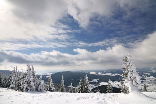 A bela encosta pitoresca de inverno com funiculares está localizada em uma estação de esqui entre montanhas e árvores em um dia nublado de inverno