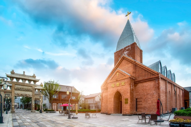 A bela igreja na antiga cidade de jimo