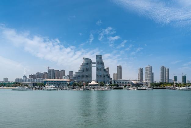 A bela paisagem arquitetônica do litoral de rizhao, china