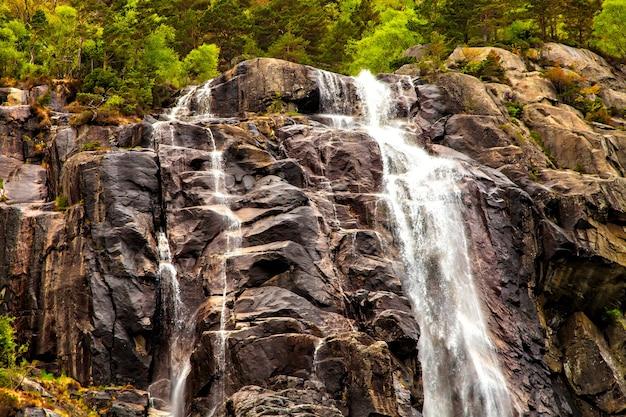 A beleza da natureza: cachoeira, pedra e floresta