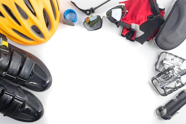 A bicicleta e acessórios de esporte de ciclismo