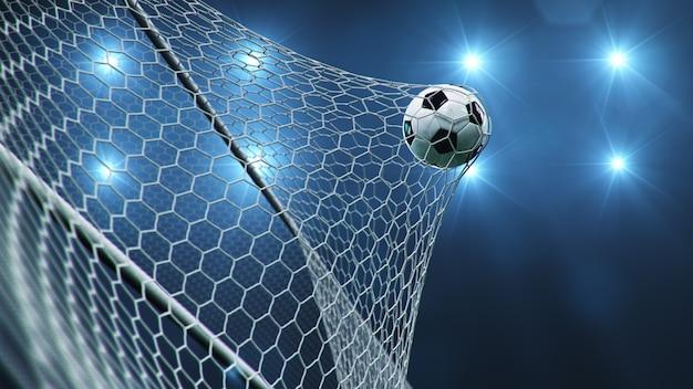 A bola de futebol voou para o gol.
