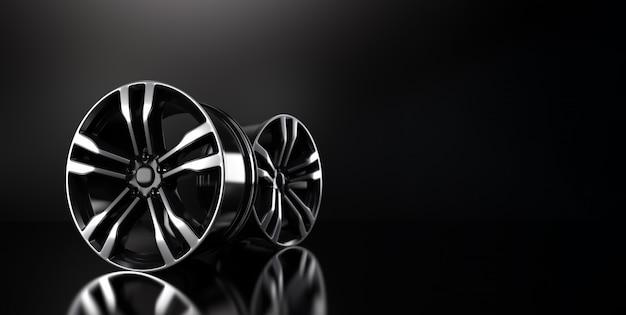 A borda forjada prata do carro de liga na ilustração preta da rendição do fundo 3d.