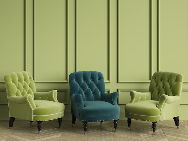 A cadeira adornada clássica esmeralda entre cadeiras verdes está de pé em uma sala vazia. paredes verdes e piso em parquet de carvalho em espinha. renderização em 3d