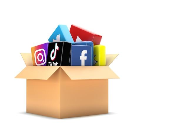 A caixa contém ícones de mídia social