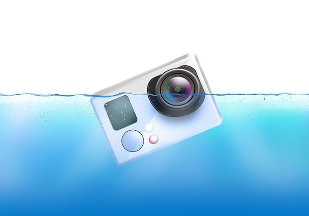 A câmera de ação afunda na água.