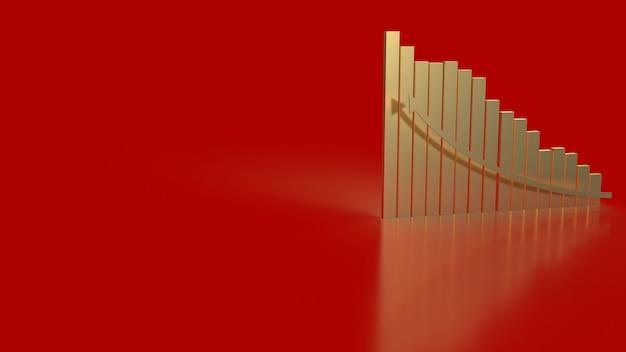 A carta de ouro e a seta para o conceito de negócios renderização em 3d