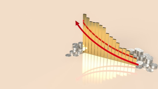 A carta de ouro e as moedas de dinheiro para o conceito de negócios ou finanças, renderização em 3d