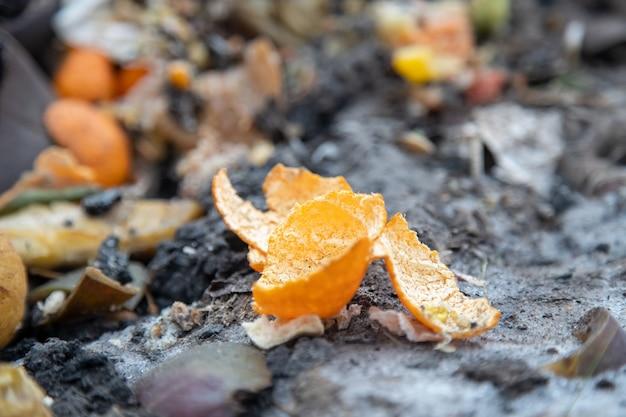 A casca da laranja da tangerina encontra-se na pilha de compostagem de lixo. close up, foco suave