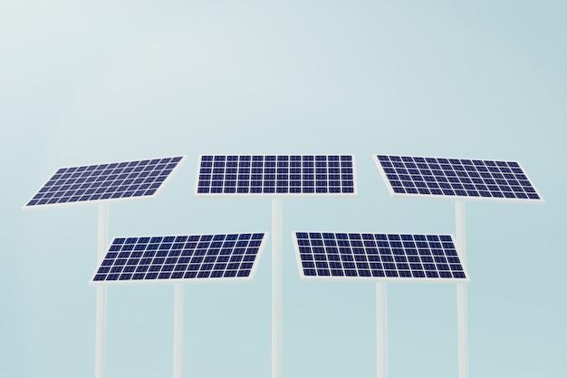 A célula solar industrial, tecnologia de energia elétrica de energia limpa, ilustração 3d rende.