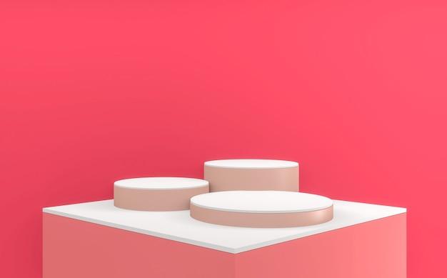 A cena de produto de design minimalista do pódio rosa de luxo valentine. renderização 3d