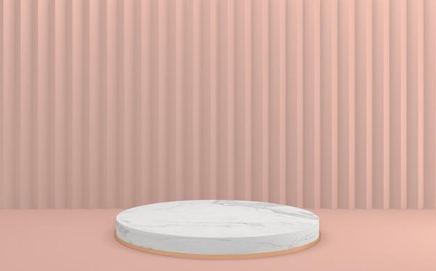 A cena de produto de design mínimo do pódio rosa vazio renderização 3d