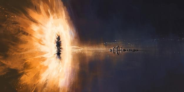 A cena de um buraco negro devorando uma nave espacial, ilustração 3d.