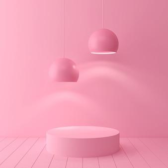 A cena geométrica abstrata mínima da cor pastel da forma, projeto para o cosmético ou o pódio 3d da exposição do produto rende.