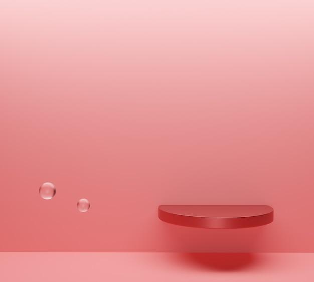 A cena mínima abstrata com formas geométricas. pódio no fundo rosa com bolhas. vetor premium