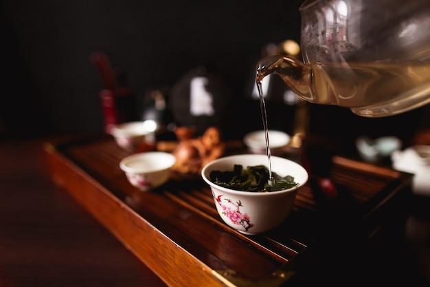 A cerimônia do chá chinês tradicional.