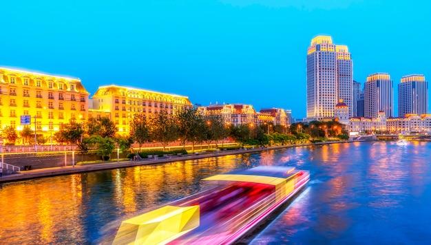 A cidade bonita visão noturna paisagem arquitetônica em tianjin, china