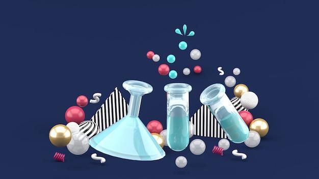 A ciência experimenta os tubos entre bolas coloridas na obscuridade - azul. renderização em 3d.