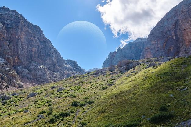 A colagem retrata uma paisagem fictícia de um exoplaneta semelhante à terra com um enorme satélite no céu