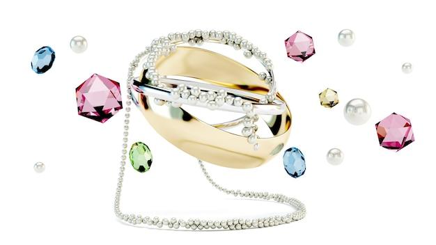 A coleção de personagens de uma vida de luxo, joias e acessórios de moda femininos