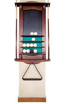 A coluna isolada com um jogo de bilhar