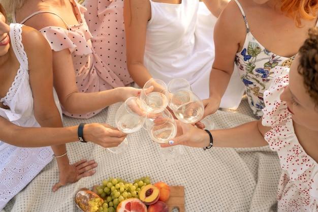 A companhia de amigas desfruta de um piquenique de verão e levanta copos com vinho