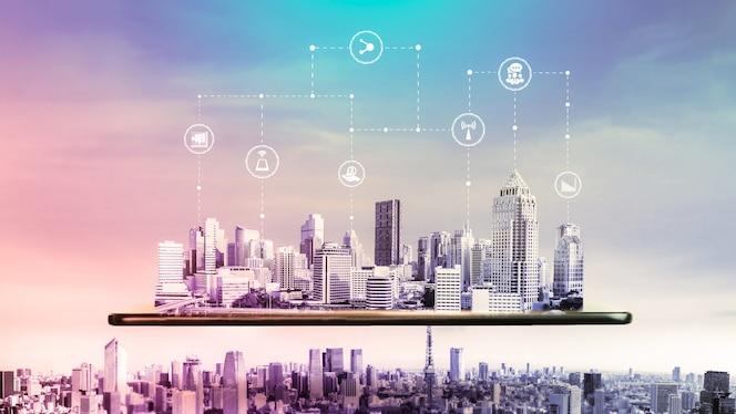 a comunicação criativa moderna e a rede de internet se conectam na cidade inteligente