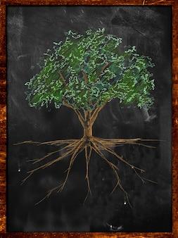 A cor do esboço da árvore deixa a cor e a raiz no quadro-negro