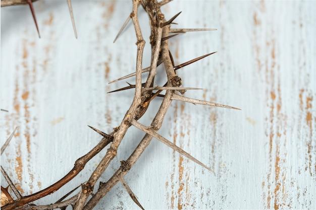 A coroa de espinhos no fundo representa a crucificação de jesus na cruz,