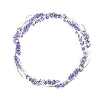 A coroa de flores de lavanda.