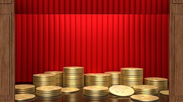 A cortina vermelha do palco para o conceito atual de renderização em 3d