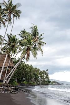 A costa do oceano. uma casa na selva é cercada por água. areia negra vulcânica. ilha de bali