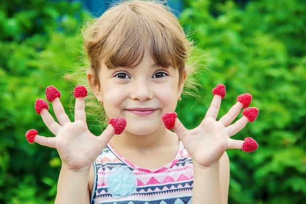 A criança come framboesas caseiras. foco seletivo.