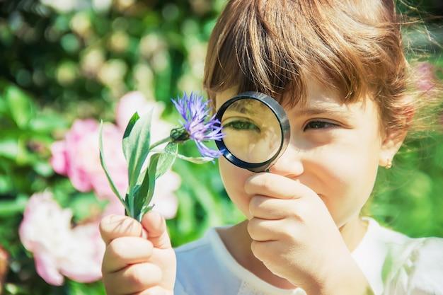 A criança está olhando em uma lupa. aumentar. foco seletivo.