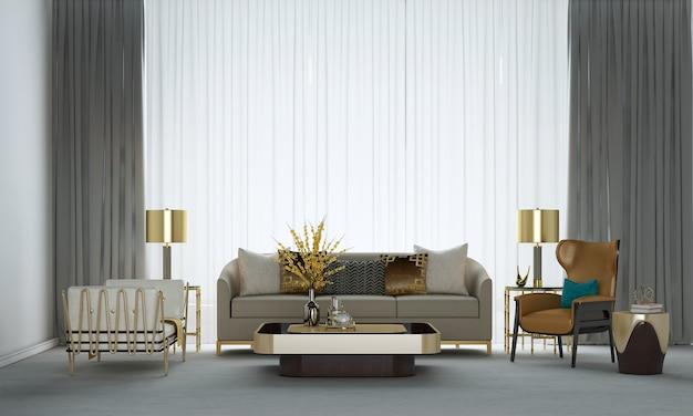 A decoração de design de interiores e a simulação de móveis da acolhedora sala de estar e o fundo de textura de parede de concreto renderização 3d
